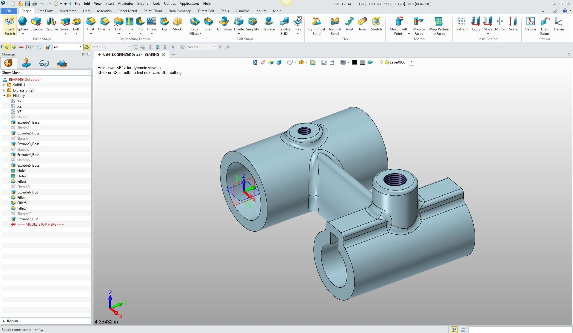 Drawing Lines In Autocad Using Bearings : D cad part design defined